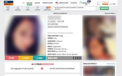 LoveScout24 Profilansicht