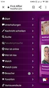 firstaffair auf Handy