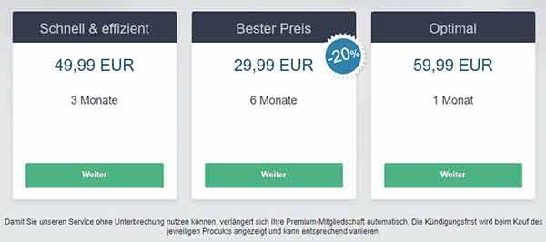 Premium-Dates Kosten