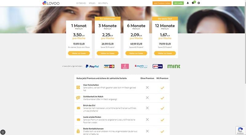 Lovoo Preise für Desktop