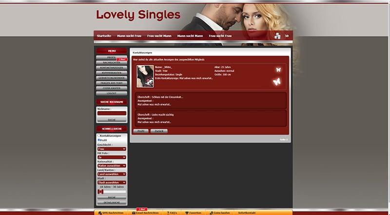 Lovely-Singles die Kontaktanzeige