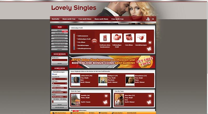 Lovely-Singles der Mitgliederbereich