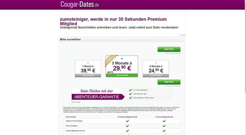 Cougar-Dates die Kosten