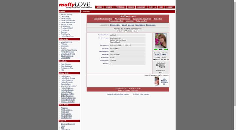 MollyLove das Mitgliederprofil